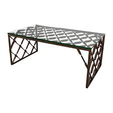 Crate And Barrell Coffee Table 82 Off Crate And Barrel Crate Barrel Glass Top Metalwork