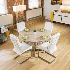 modern 1 2 round dining table white oak bespoke 4 white padded chairs