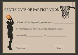 Basketball Participation Certificate Free Printable Basketball