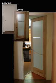 modern office door with frosted glasaple wood frame modern interior