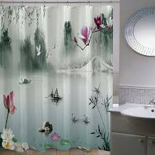 plum shower curtains. Chinese Ink Painting Landscape Lotus Plum Bamboo Polyester Waterproof Mildew Fabric Bathroom Shower Curtain Bath Curtain-in Curtains From Home