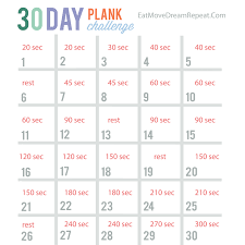 21 Day Plank Challenge Chart 30 Day Plank Challenge Printable Chart Www