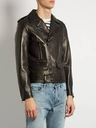 saint lau stud embellished leather biker jacket black mens yves saint lau make up