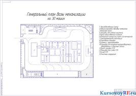 Генеральный план и расчеты организации эксплуатации парка машин Чертеж генеральный план базы механизации на 30 машин