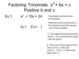 2 factoring trinomials