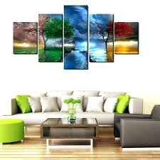 four seasons ll art new 5 piece modern decorative trees landscape canvas fl metal wall glass