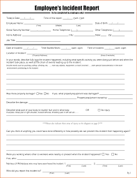 Employee Incident Report Template New Employee Injury Report Form