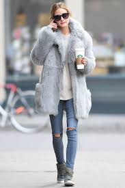olivia palermo grey fur coat what to wear when its freezing high tops