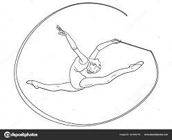 Bezwaar Op Witte Achtergrond Ritmische Gymnastiek Meisje Met Een