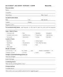 Vehicle Incident Report Template Form Word