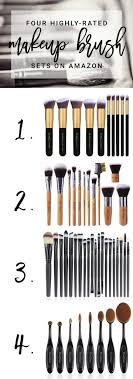 four of the highest rated makeup brush sets avaialable on amazon