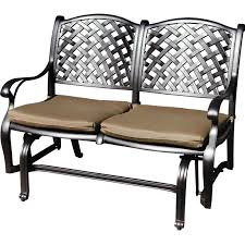 darlee nassau cast aluminum patio bench glider ultimate outdoor cushions set double e aafcee f large
