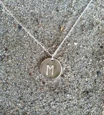 initial necklace sterling silver round charm 1
