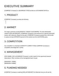 Executive Summary Business Plan Executive Summary Sample Startup