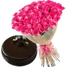 fresh pink roses with chocolate cake new year mysore india