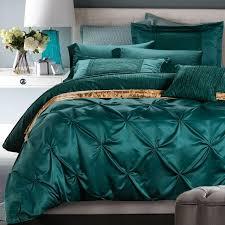 luxury bedding set blue green duvet cover bed in a bag sheets bedspreads queen king size double designer quilt linen bedsheet tropical bedding comforters