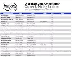 Decoart Americana Acrylic Paint Color Chart Decoart Americana Discontinued Colours How To Mix Your Own