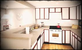basement apartment ideas. Charming Wall Clock Mixed With Splendid U Shaped Kitchen Decor For Plain Tiny Basement Apartment Ideas D