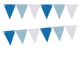 Triangle Banner Blue Stripes Solid Light Blue Glitter Silver 10ft Vintage Pennant Banner Paper Triangle Bunting Flags For Weddings Birthdays Baby Showers Events