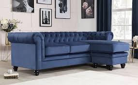 hampton blue velvet l shape