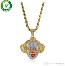 whole hip hop jewelry mens gold chain pendants brand designer necklace iced out clown pendant diamond bling luxury pandora style charms rapper