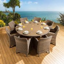 rattan garden outdoor dining set round table 8 chairs