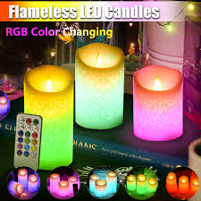 Color Changing Battery Tea Lights Details About 3pcs Colour Changing Rgb Led Candle Tea Lights Flameless With Remote Wedding