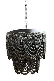 creative coop lighting 1 x 1 metal wood beads chandelier w 3 lights 6 chain cord creative coop