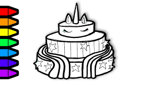 Cake Colouring Pages Drawing And Coloring Unicorn Page Art For Kids