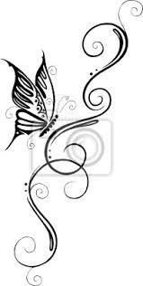 Fototapeta Květinový Filigranes Tetování Ranke Mit Schmetterling Motýl