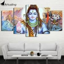 Canvas <b>5 Panel</b> Indian <b>Lord</b> Shiva Wall Picture Decoration Print For ...