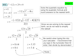 4 solve the quadratic equation by using