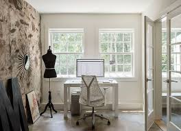 office feature wall. Original Stone Wall Foundation Becomes A Smart Accent Feature In The Revamped Home Office [Design