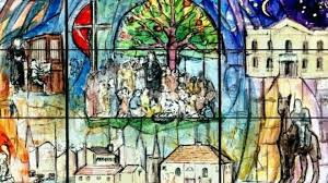 stained glass window shows life of john painting on windows designs