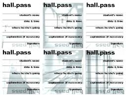 Free Hall Pass Template For Middle School Bus Card Bathroom
