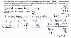 solve word problems system of equations