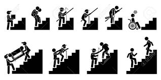 階段や階段の人々クリップアートのピクトグラムは階段上のアクションで別の人を示しています