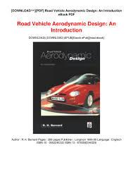 Road Vehicle Aerodynamic Design Rh Barnard Download Pdf Road Vehicle Aerodynamic Design An