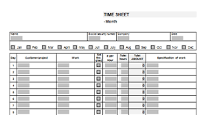 Monthly Time Card Template Timesheet Template