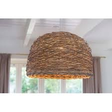 rotan grey woven basket ceiling pendant light small