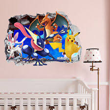 Pokemon Gang Smashed Wall Crack Kids Boy Girls Bedroom Vinyl Decal Sticker  Gift