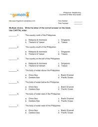 Philippines- Neighboring Countries & Water Boundaries Worksheet ...