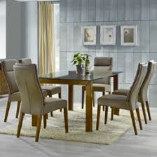 soho 7 piece dining meeting room seating table with solid timber and genuine leather on chairs