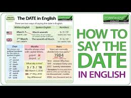 Spanish Date Chart How To Say The Date In English Youtube