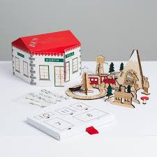 wooden train and railway advent calendar