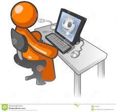 Dessin Anim Orange D Homme Sur L Ordinateur Illustration De Dessin De Bureau L
