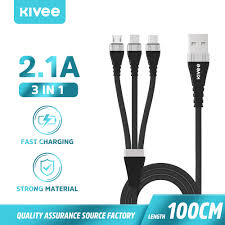 <b>KIVEE CH062 3 in</b> 1 USB Cable charging cable Fast type c charging ...