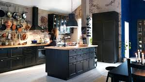 ikea laxarby kitchen black kitchen with black brown drawer fronts doors and glass doors