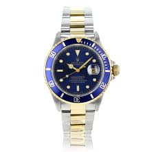 preowned second hand luxury watches the watch gallery® preowned rolex submariner automatic plated steel gold blue dial mens watch 16613