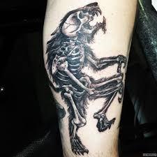 скелет оборотня тату на голени у парня добавлено иван вишневский